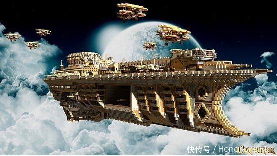 堪比|《我的世界》空中飞船突破科技限制 体量巨大工程量堪比造航母